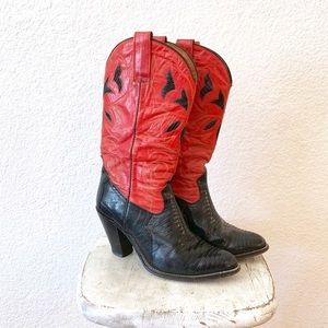 Red Black 80s Heeled Cowboy Boots Sexy Festival